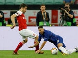 Chelsea's Eden Hazard in action with Arsenal's Sokratis Papastathopoulos during the 2019 Europa League final on May 29, 2019