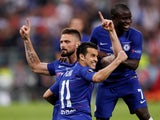 Olivier Giroud celebrates with Pedro and N'Golo Kante after giving Chelsea the lead against Arsenal in the 2019 Europa League final on May 29, 2019