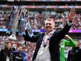Aston Villa manager Dean Smith celebrates winning the Championship playoff final on May 27, 2019