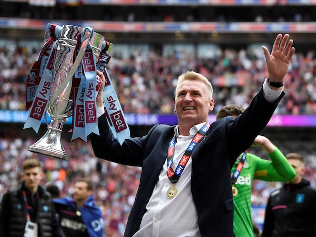 Aston Villa manager Dean Smith celebrates winning the