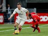 Paris Saint-Germain full-back Thomas Meunier in Ligue 1 action with Dijon's Wesley Said on March 12, 2019
