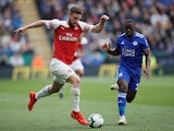 Shkodran Mustafi in action for Arsenal during a Premier League match against Leicester City on April 28, 2019