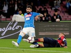 Napoli's Elseid Hysaj in Serie A action with Genoa's Domenico Criscito on April 7, 2019