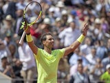 Rafael Nadal (ESP) celebrates recording match point during his match against Yannick Hanfmann (GER) on day two of the 2019 French Open at Stade Roland Garros on May 27, 2019