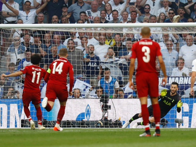 Liverpool forward Mohamed Salah converts a penalty against Tottenham Hotspur in the 2019 Champions League final on June 1, 2019