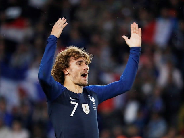 Antoine Griezmann celebrates scoring for France on June 2, 2019