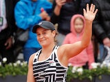 Ashleigh Barty celebrates reaching the French Open final on June 7, 2019