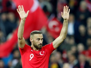 Turkey forward Cenk Tosun in action against Moldova in their Euro 2020 qualifier in March 2019