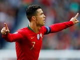 Portugal's Cristiano Ronaldo celebrates scoring against Switzerland in the UEFA Nations League on June 5, 2019.