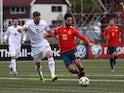 Spain attacker Isco in action with Faroe Islands defender Gilli Sorensen in their Euro 2020 qualifier on June 7, 2019