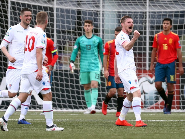 Faroe Islands forward Klaemint Olsen celebrates scoring against Spain in their Euro 2020 qualifier on June 7, 2019