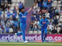India bowler Jasprit Bumrah celebrates a wicket against South Africa on June 5, 2019