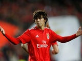 Benfica's Joao Felix celebrates scoring his side's opening goal in the Europa League clash with Eintracht Frankfurt in April 2019
