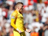 Jordan Pickford celebrates scoring in a penalty shootout against Switzerland in the UEFA Nations League on June 9, 2019.