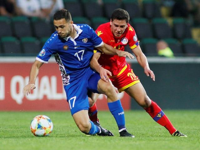 Max Lovira di Andorra in una partita contro la Moldavia nelle qualificazioni a Euro 2020 l'8 giugno 2019