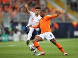 England attacker Jadon Sancho in action with Netherlands midfielder Georginio Wijnaldum in the UEFA Nations League semi-final on June 6, 2019