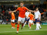 Netherlands defender Matthijs de Ligt scores against England in the UEFA Nations League semi-final on June 6, 2019