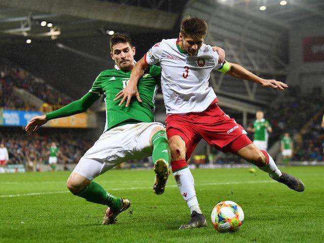 Belarus defender Aleksandr Martynovich in action against Northern Ireland in their Euro 2020 qualifier in March 2019