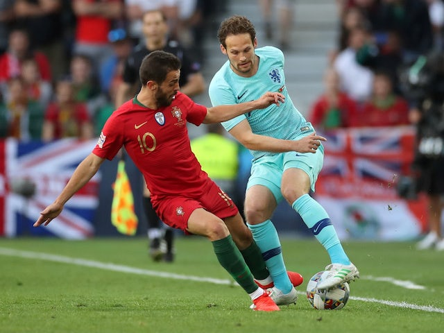 Portugal attacker Bernardo Silva in action with Netherlands defender Daley Blind in the UEFA Nations League final on June 9, 2019