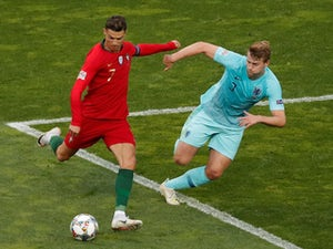 Portugal attacker Cristiano Ronaldo in action with Netherlands defender Matthijs de Ligt in the UEFA Nations League final on June 9, 2019