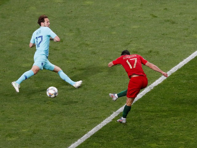 Portugal attacker Goncalo Guedes scores against the Netherlands in the UEFA Nations League final on June 9, 2019