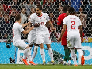 Switzerland's Ricardo Rodriguez celebrates scoring against Portugal in the UEFA Nations League on June 5, 2019.
