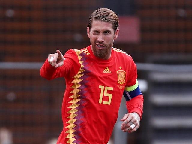 Spain captain Sergio Ramos celebrates scoring against Faroe Islands in their Euro 2020 qualifier on June 7, 2019
