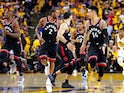 Toronto Raptors guard Danny Green (14) reacts after a play during the third quarter against the Golden State Warriors in game three of the 2019 NBA Finals at Oracle Arena