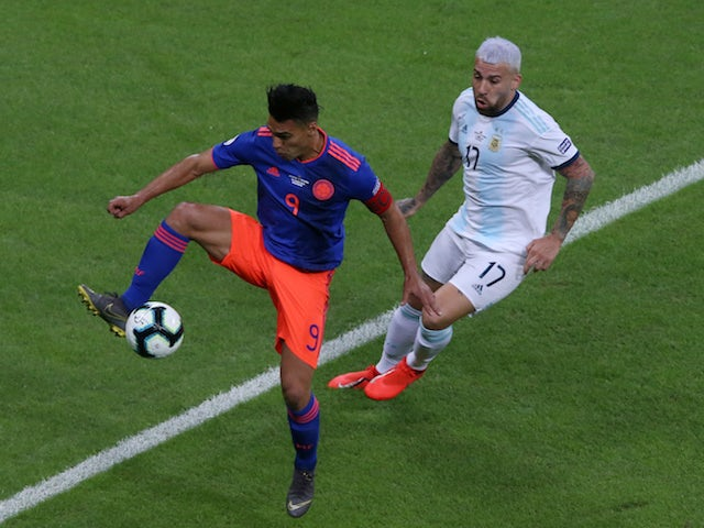 Colombia's Radamel Falcao in action with Argentina's Nicolas Otamendi in the Copa America on June 15, 2019