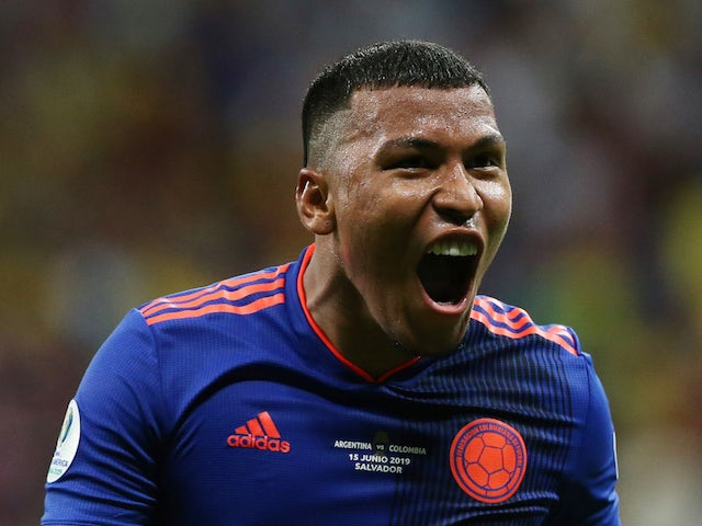 Colombia's Roger Martinez celebrates scoring against Argentina in the Copa America on June 15, 2019
