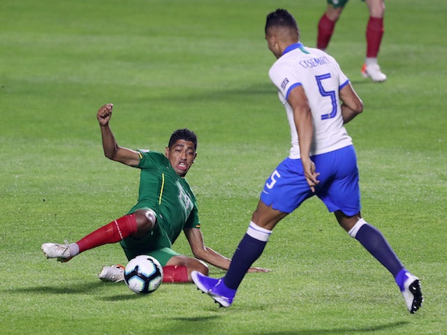 Brazil's Casemiro in action with Bolivia's Raul Castro in the Copa America on June 14, 2019