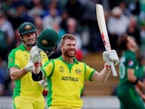 Australia's David Warner celebrates hitting a century in a Cricket World Cup match on June 12, 2019