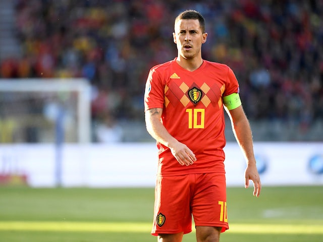 Eden Hazard in action for Belgium on June 8, 2019