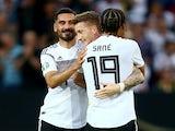 Germany's Marco Reus celebrates scoring their fifth goal with Leroy Sane, Ilkay Gundogan and team mates on June 11, 2019