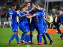 Italy's Marco Verratti celebrates scoring their first goal against Bosnia with team mates on June 11, 2019