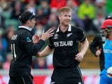 New Zealand's James Neesham celebrates the wicket of Afghanistan's Najibullah Zadran on June 8, 2019
