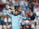 Joe Root celebrates reaching a century for England on June 14, 2019