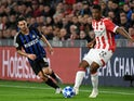 PSV Eindhoven defender Denzel Dumfries pictured in Champions League action against Inter Milan in October 2018