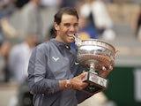 Rafael Nadal celebrates winning the French Open on June 9, 2019