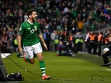 Republic of Ireland's Robbie Brady celebrates scoring their second goal against Gibraltar on June 10, 2019