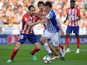 Real Sociedad attacker Mikel Oyarzabal in action against Atletico Madrid in April 2018