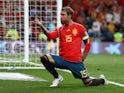Spain captain Sergio Ramos celebrates scoring against Sweden in their Euro 2020 qualifier on June 10, 2019