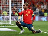 Spain captain Sergio Ramos celebrates scoring against Sweden in their Euro 2020 qualifier on June 10, 2019