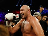 Tyson Fury celebrates defeating Tom Schwarz on June 15, 2019