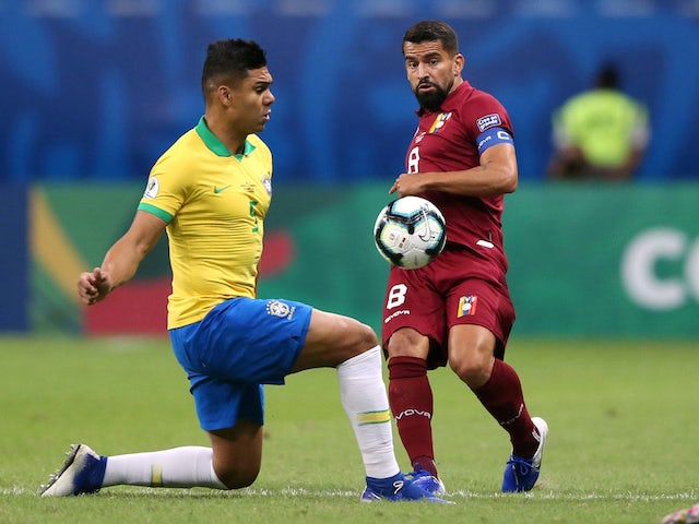Brazil's Casemiro in action with Venezuela's Tomas Rincon at the Copa America on June 18, 2019