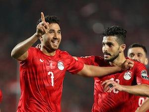 Trezeguet celebrates scoring for Egypt on June 21, 2019