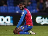 Togo forward Emmanuel Adebayor pictured in action for Crystal Palace in April 2016
