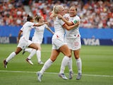 England's Alex Greenwood celebrates scoring their third goal with Fran Kirby against Cameroon on June 23, 2019