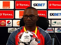DR Congo's coach Florent Ibenge looks on during a news conference ahead of the African Nations Cup opening soccer match against Uganda at Cairo International Stadium, Egypt on June 19, 2019