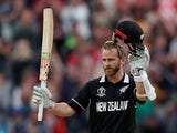 New Zealand batsman Kane Williamson celebrates scoring a century against South Africa on June 19, 2019